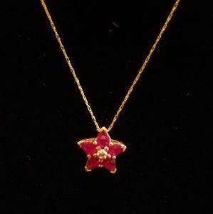 Natural Ruby w/diamond chip gold pendant 14k chain